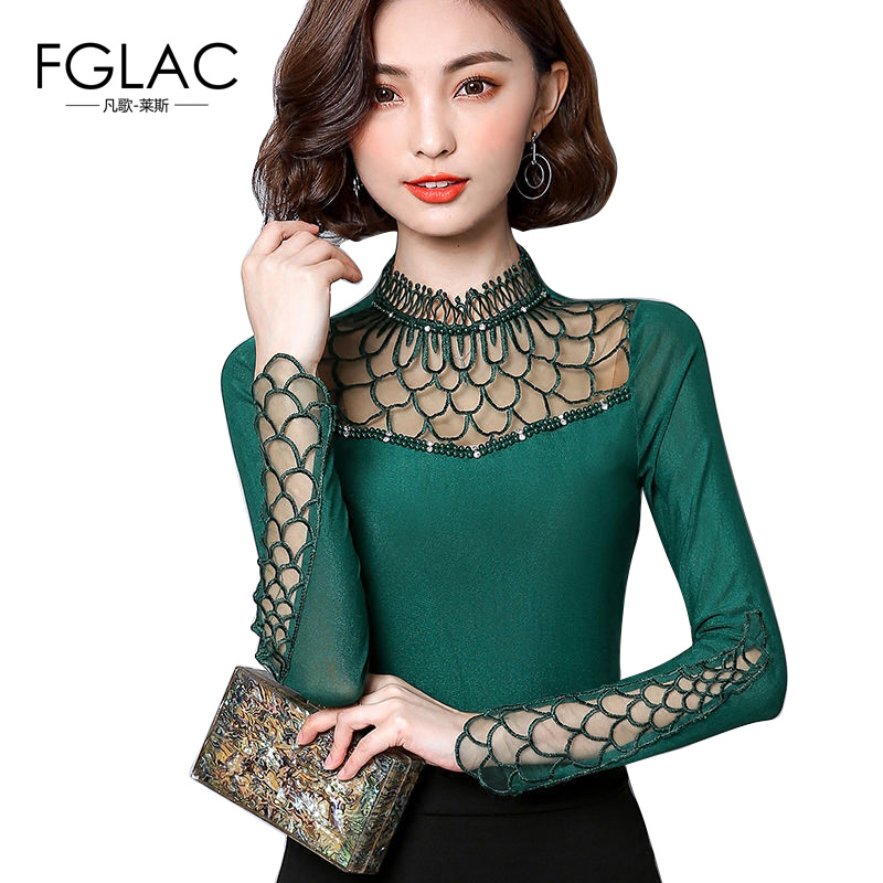 FGLAC S-4XL Women   blouse     shirt   2019 fashion long sleeve   blouse   Hollow out Lace tops Elegant Slim Patchwork plus size Mesh tops