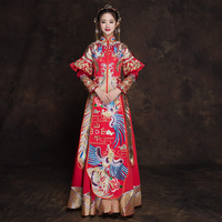Classic Mandarin Collar Cheongsam Marriage Suit Embroidery Phoenix Chinese Wedding Dress Traditional Qipao Ancient Vestidos