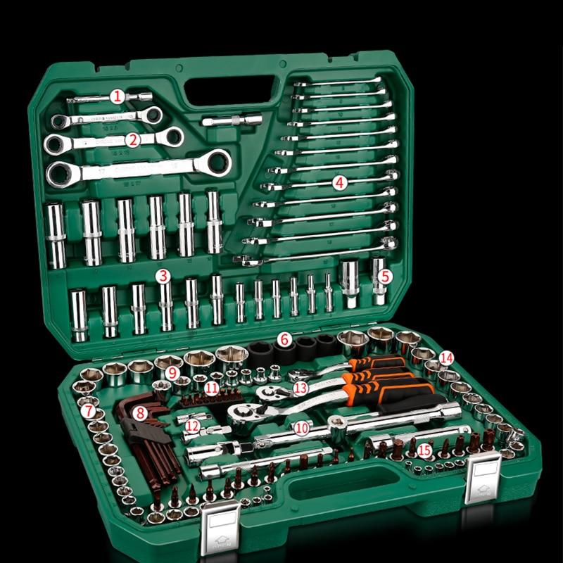 Инструменты для ремонта автомобиля, механические инструменты, набор 121 шт., 150 шт., торцевой ключ, инструменты для авто, Трещоточный ключ, отвертка, Набор торцевых головок, шестигранный ключ - 3