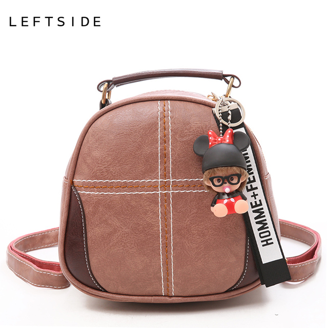 1c8ec3fc991 LEFTSIDE Mini Stitching Backpack For Women 2018 Teenagers Small Leather Back  Pack With Pendant Girls Cute