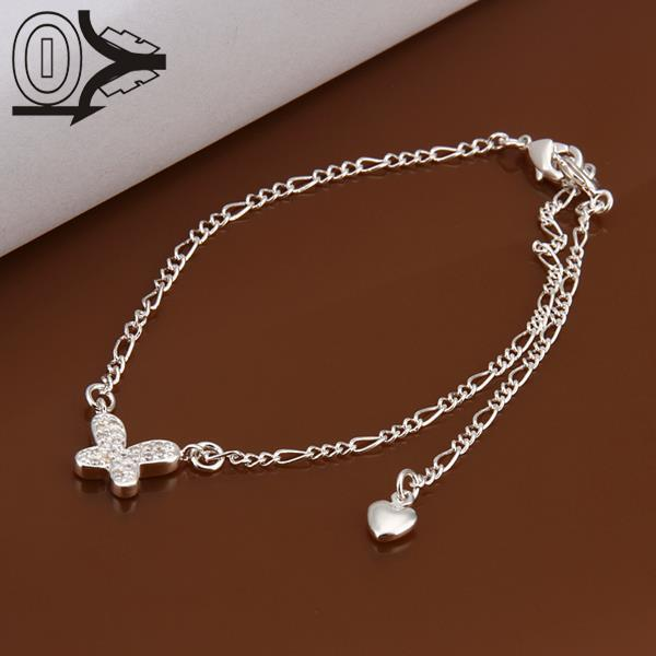 Lose Money!!Wholesale Silver Plated Anklets,Fashion Silver Jewelry,Inlaid Stone Small Butterfly Charms Anklets For Lady