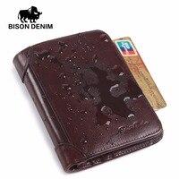 BISON DENIM Da Chính Hãng RFID ví Men red nâu cổ điển chủ thẻ ví Thương Hiệu người đàn ông ví dollar giá Nam Purse W4361