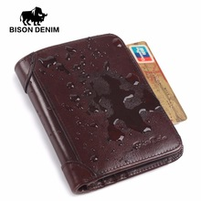 BISON DENIM 2016 Nueva cartera de cuero genuino de los hombres de la vendimia billetera genuina titular de la tarjeta del monedero de los hombres carteras precio en dólares N4361