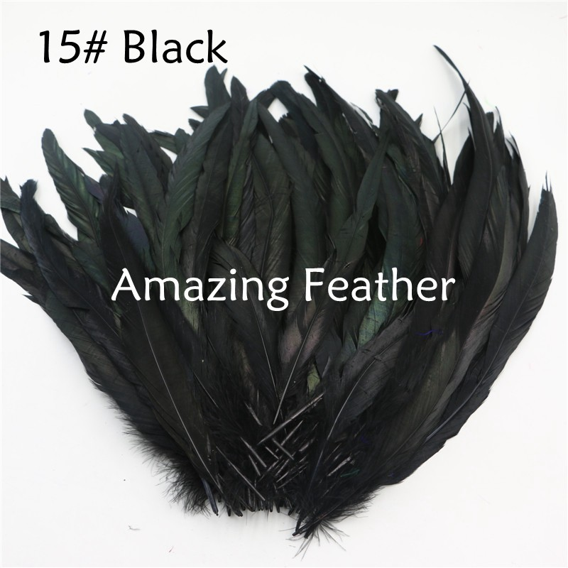 200pcs/lot 12-14inch Rooster Feathers Black Feathers For Crafts Decoration Christmas Home Sale New Year Wedding Cosplay