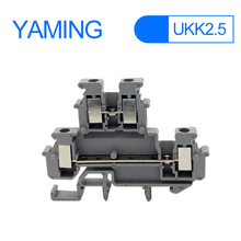 20pcs/lot 32A 500V 2.5mm2 DIN rail Copper Double-deck Connection Terminal UKK2.5 Double In Come MBKKB2.5mm