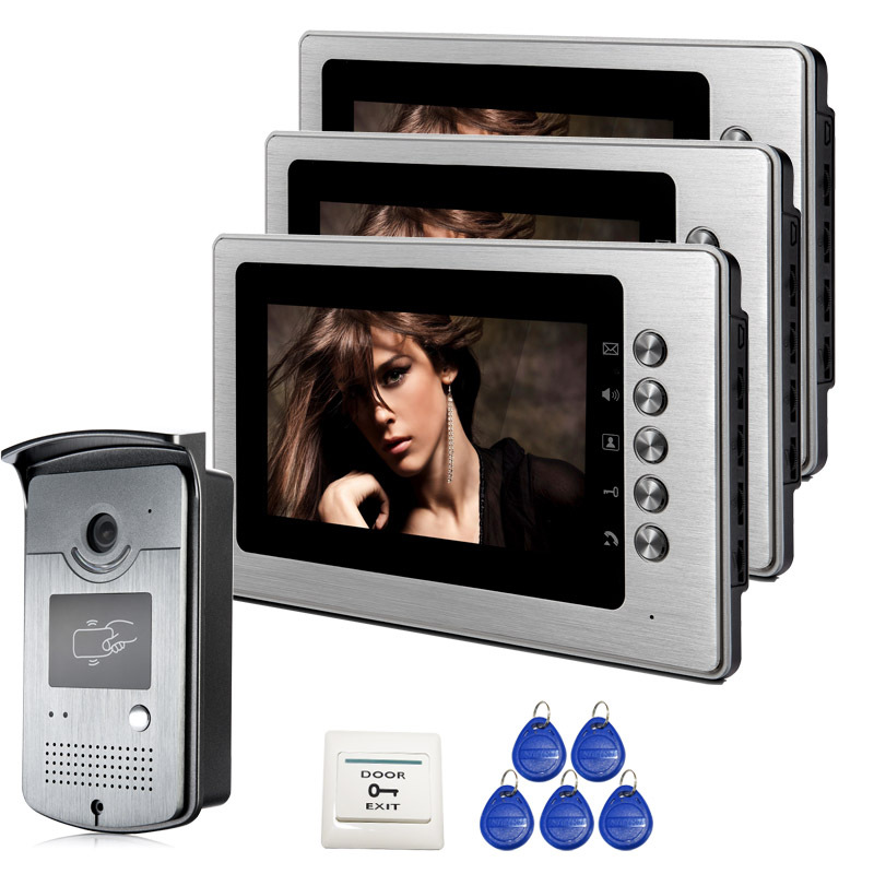 Free Shipping Brand Home New 7 inch Color Video Intercom Door Phone System 3 Monitor + 1 RFID Access Camera In Stock Wholesale