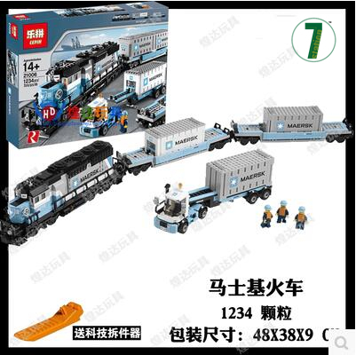 New Lepin 21006 Maersk Train 1234pcs Toy building blocks Bricks compatible 10219 Technic boy gift city model Freight container in stock new lepin 21009 fxx 1 17 toy building blocks 632pcs technic racing sports car supercar model boy gift compatible 8156