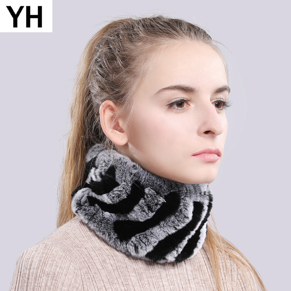 Women Real Fur Handmade Stretch Fur Scarf Knit Genuine Rex Rabbit Fur Headbands Girls Natural Fur Ring Cowl Snood Scarves Winter