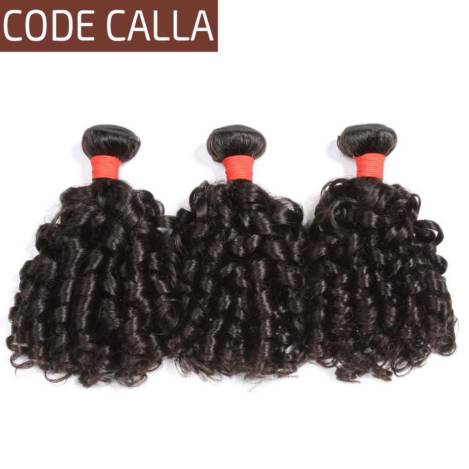 Human-Hair-Extension Weave Code Calla Curly Dark-Brown Bouncy Natural Brazilian 1/3/4bundles