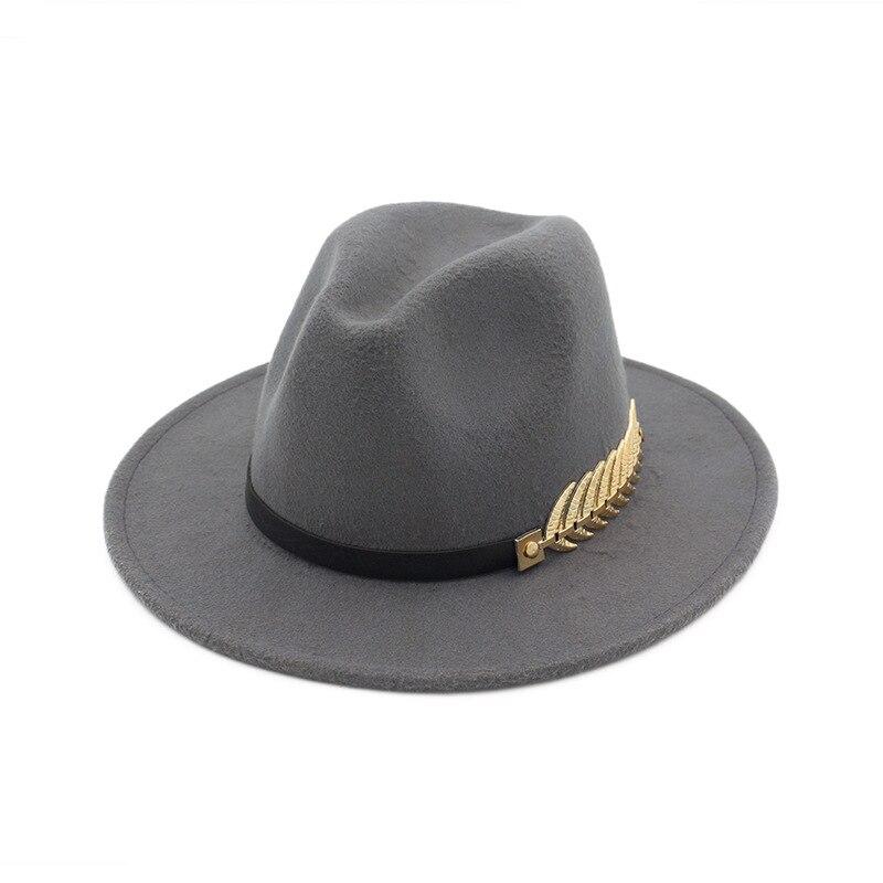 65f9244da96 Unisex Wide Flat Brim Wool Felt Jazz Fedoras Hat with Belt Metal leaves Decor  men women panama style Trilby Party formal hat