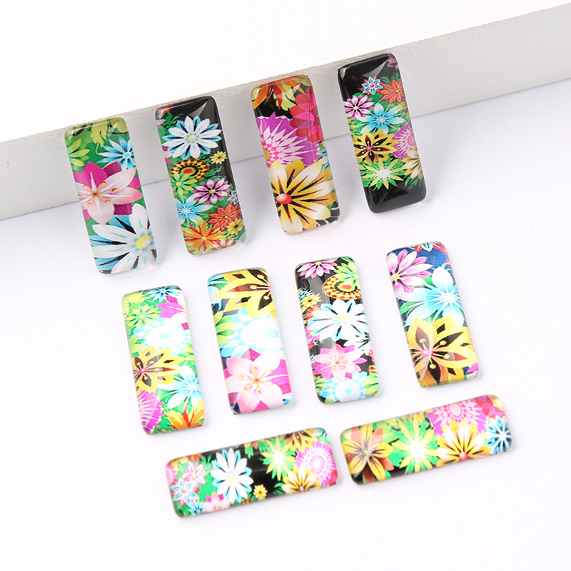 reidgaller 20pcs mix flower pattern photo rectangle glass cabochon 10x25mm diy handmade jewelry findings for earrings makingreidgaller 20pcs mix flower pattern photo rectangle glass cabochon 10x25mm diy handmade jewelry findings for earrings making