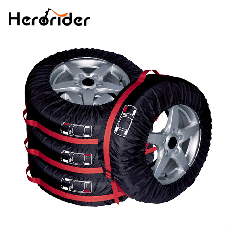 Urbanroad 4pcs Car Tyre Spare Tire Cover Case Polyester Wheel Tyre Cover Protector Automobile Car Tires Storage Bag Accessories pvc car spare 15 tire tyre cover black yellow white