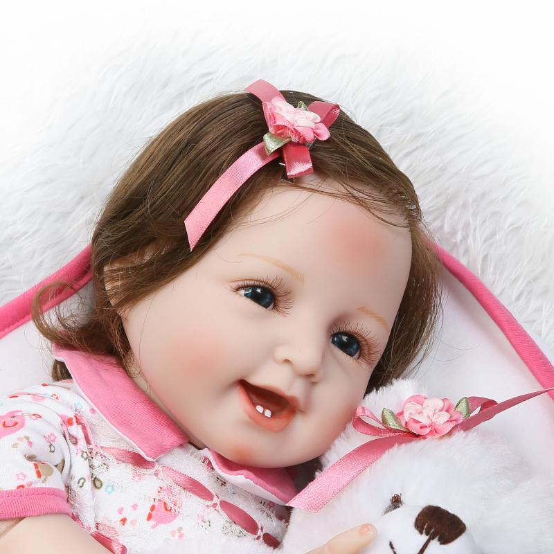 New Lifelike Princess Girl Reborn Doll 22Inch Realistic Silicone Real Touch Newborn Babies Toy With Clothes Kids Birthday Gifts can sit and lie 22 inch reborn baby doll realistic lifelike silicone newborn babies with pink dress kids birthday christmas gift