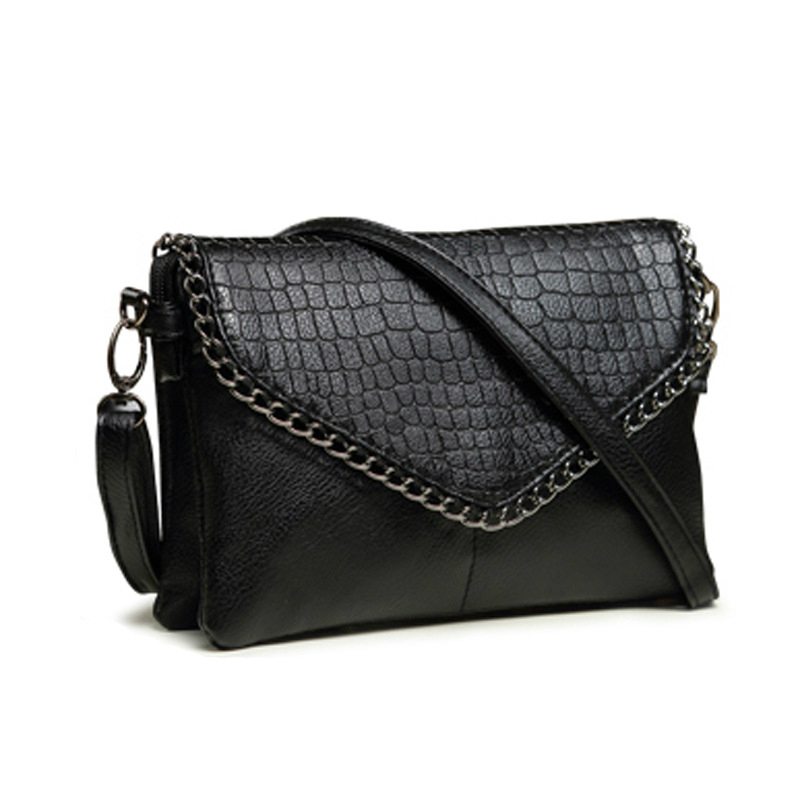 8405a6cec4dc Women Shoulder Bags Brand Designer Crossbody Bags Wristlet Clutch Hand Bag  Leather PU Crocodile Black Envelope Clutches-in Crossbody Bags from Luggage  ...