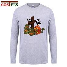 b5d699fa26ab Homens camisa Engraçada de T caras halloween t camisas das mulheres de manga  longa Abóboras de halloween camisa de t para homens.