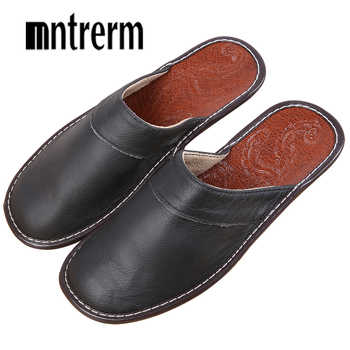 Mntrerm Men Slippers Spring And Autumn Genuine Leather Home Indoor Non - Slip Thermal Slippers 2018 New Hot Outside Home Shoes - DISCOUNT ITEM  40% OFF All Category