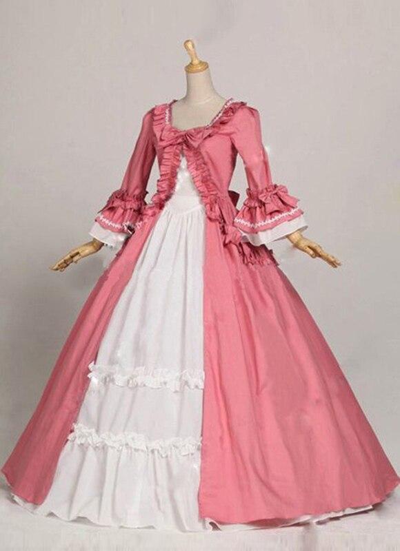 Classique Flare Scène Party Long As Blanc Robes Coton Rose Gothique Victoriennes Bal Manches Royal Siècle Dance Et 18e De Picture wPqxOZXvx