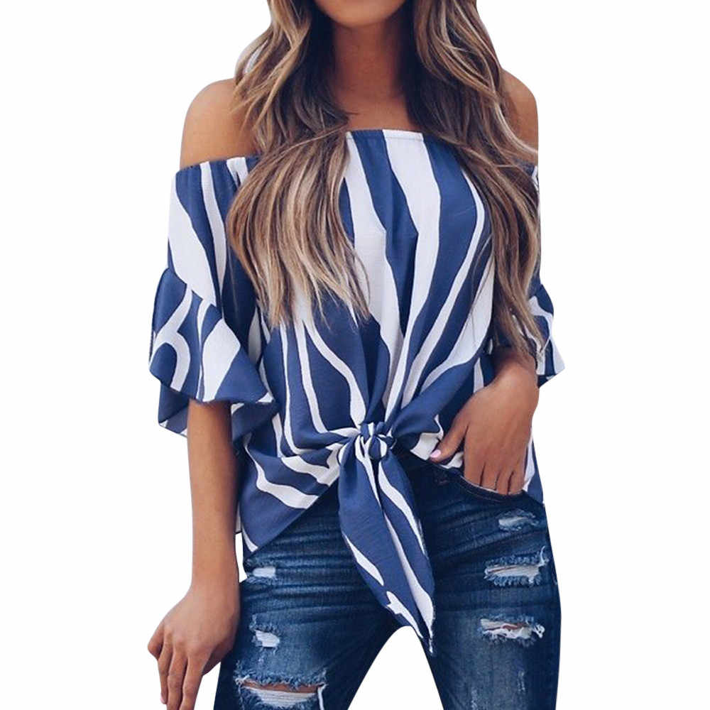 Women Striped Off Shoulder Blouse Summer Women Blouse Short Sleeve Casual Shirts Sexy Camisas Mujer Tops Pullover Dames Kleding
