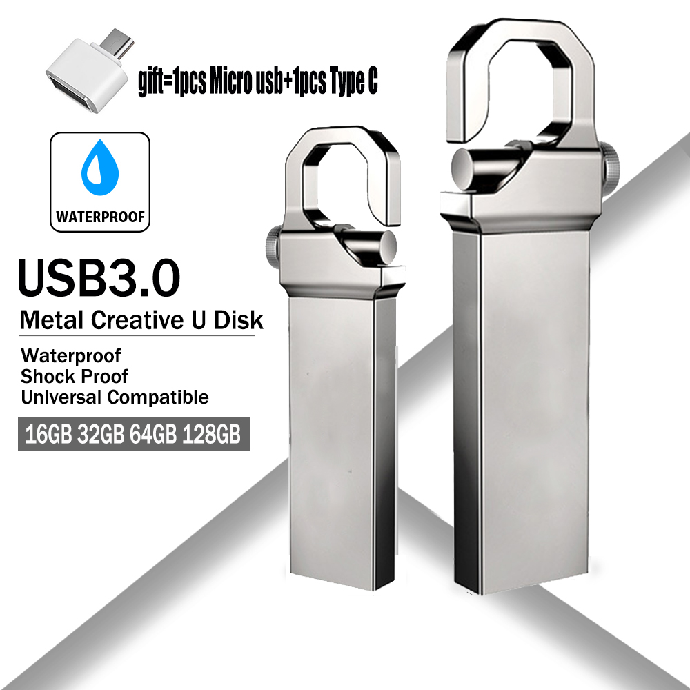 New Pen Drive 128GB Pendrive 64GB 32GB 16GB 8GB USB Flash Drive 256GB Waterproof Metal U Disk Memoria Cle USB 3.0 Memory Stick