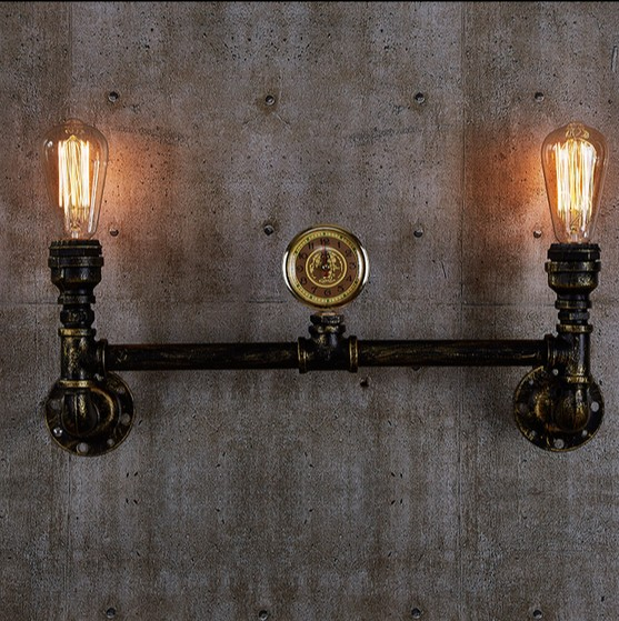 Loft Style Creative Clock Metal Water Pipe Lamp Industrial Vintage Wall Light For Home Edison Wall Sconce Lampara Pared|vintage wall light|wall lights for home|wall light -