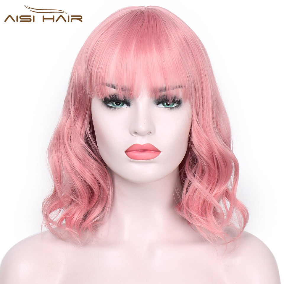 I's a wig Synthetic Wigs for Women Pink Short Wig aisi Hair 12 Long Water Wave False Hair