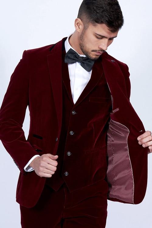 Handsome Groomsmen Velvet Groom Tuxedos Mens Wedding Dress Man Jacket Blazer Prom Dinner (Jacket+Pants+Tie+Vest) A03