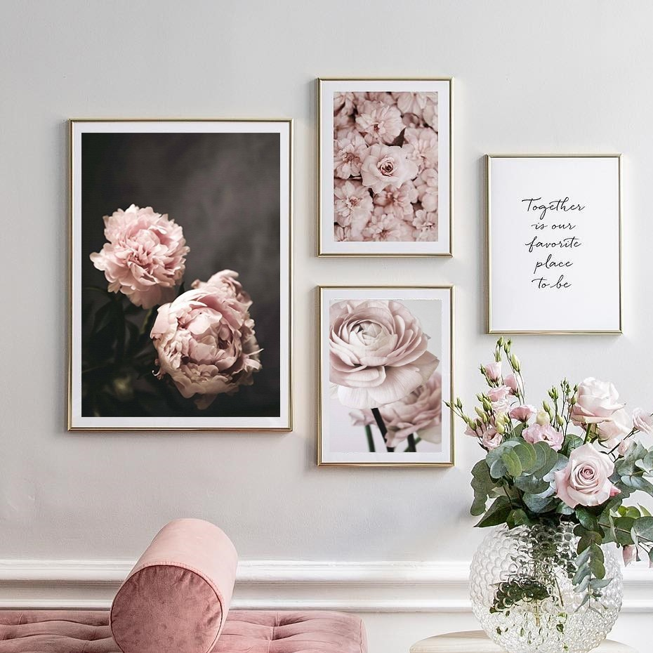 Modern Romantic Light Pink Peonies Flowers Canvas Paintings Gallery Posters Prints Wall Art Pictures Bedroom Interior Modern Romantic Light Pink Peonies Flowers Canvas Paintings Gallery Posters Prints Wall Art Pictures Bedroom Interior Home Decor