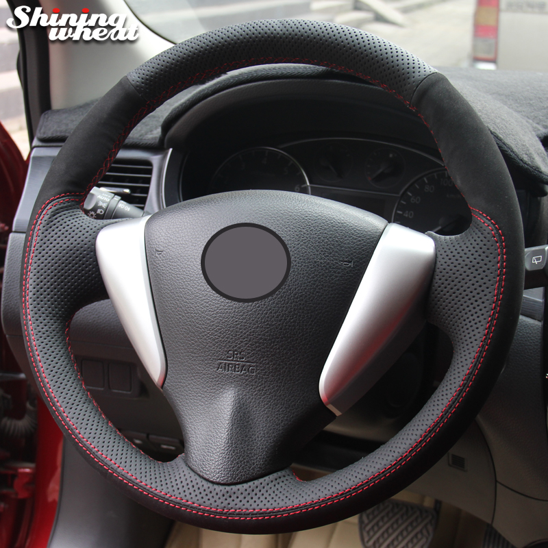 Shining wheat Black Suede Black Genuine Leather Car Steering Wheel Cover for Nissan Tiida Sylphy Sentra Versa Note 2014 2017