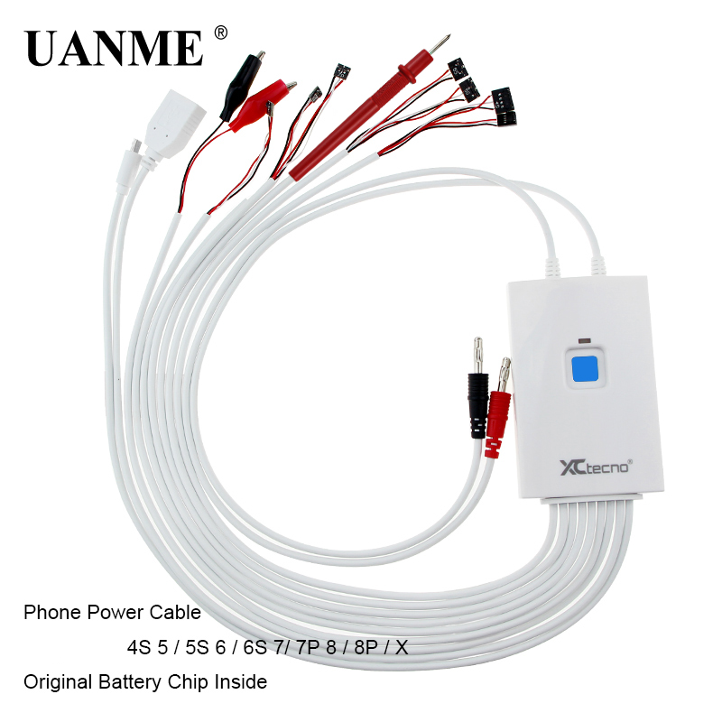 UANME Professional DC Power Supply Phone Current Test Cable For iPhone 4S/5G/5S/5C/6/6s/6p/6sp/7/7p/8/8p/8X Repair Tools 7 in 1 lcd display digitizer tester touch screen tester test board for iphone 6 6 plus 5g 5s 5c 4g 4s top version