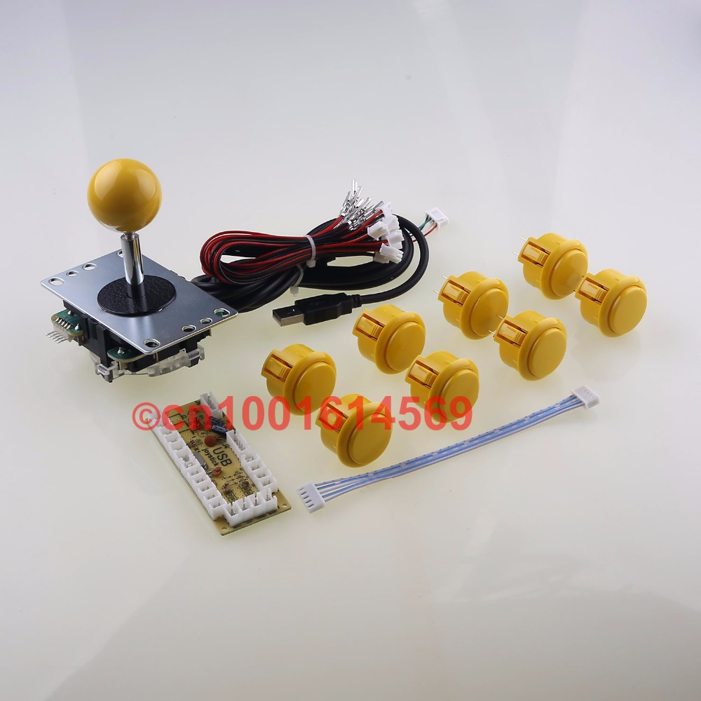Arcade Game DIY Kits Parts Sanwa Bundles Sanwa Joystick + Sanwa Button + USB Encoder For Marvel vs Street Fighter Games - Yellow sanwa button and joystick use in video game console with multi games 520 in 1