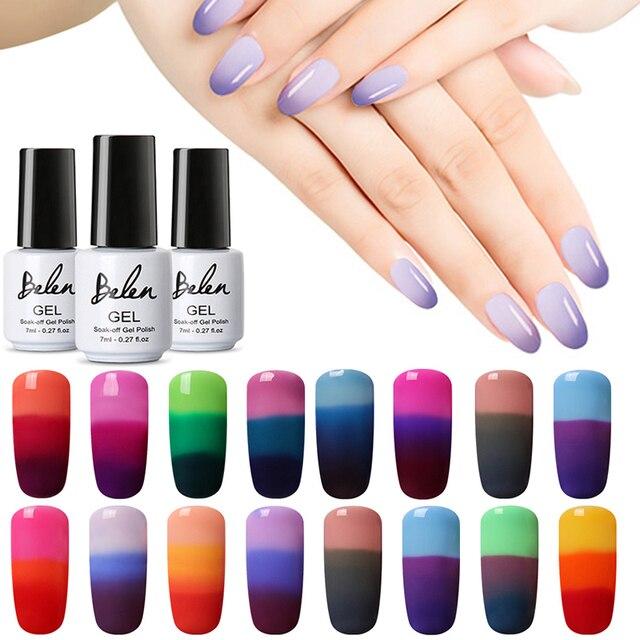 Belen żel do malowania paznokci 3 w 1 temperatura zmienia kolor żel UV do paznokci polski lakier do paznokci UV LED żel lakier żelowy Chameleon 7 ml