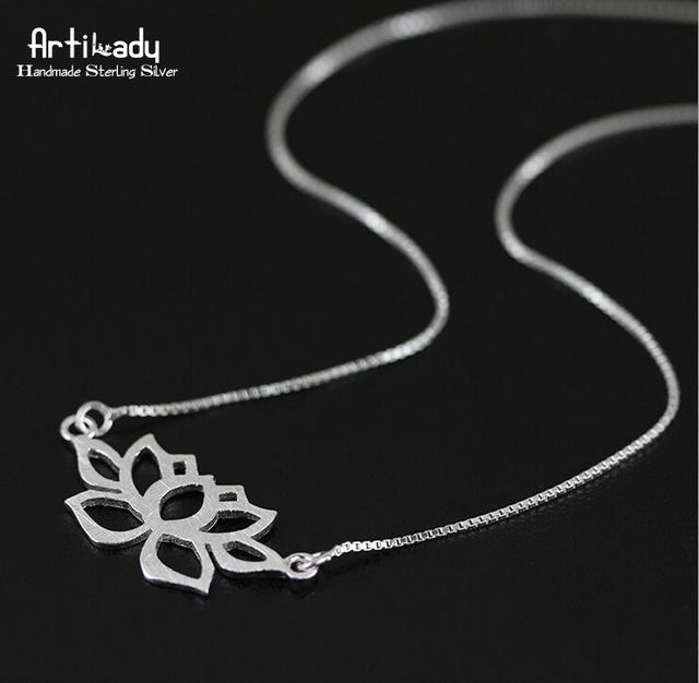 Artilady 925 sterling silver lotus colar pingente para mulheres jóias art estilo oco out colar para as mulheres de jóias