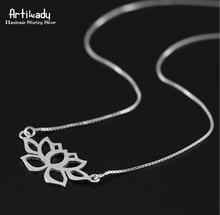 Artilady 925 lotus colgante collar de collar de mujer joyería de estilo ahueca hacia fuera el collar de collar de mujer joyería