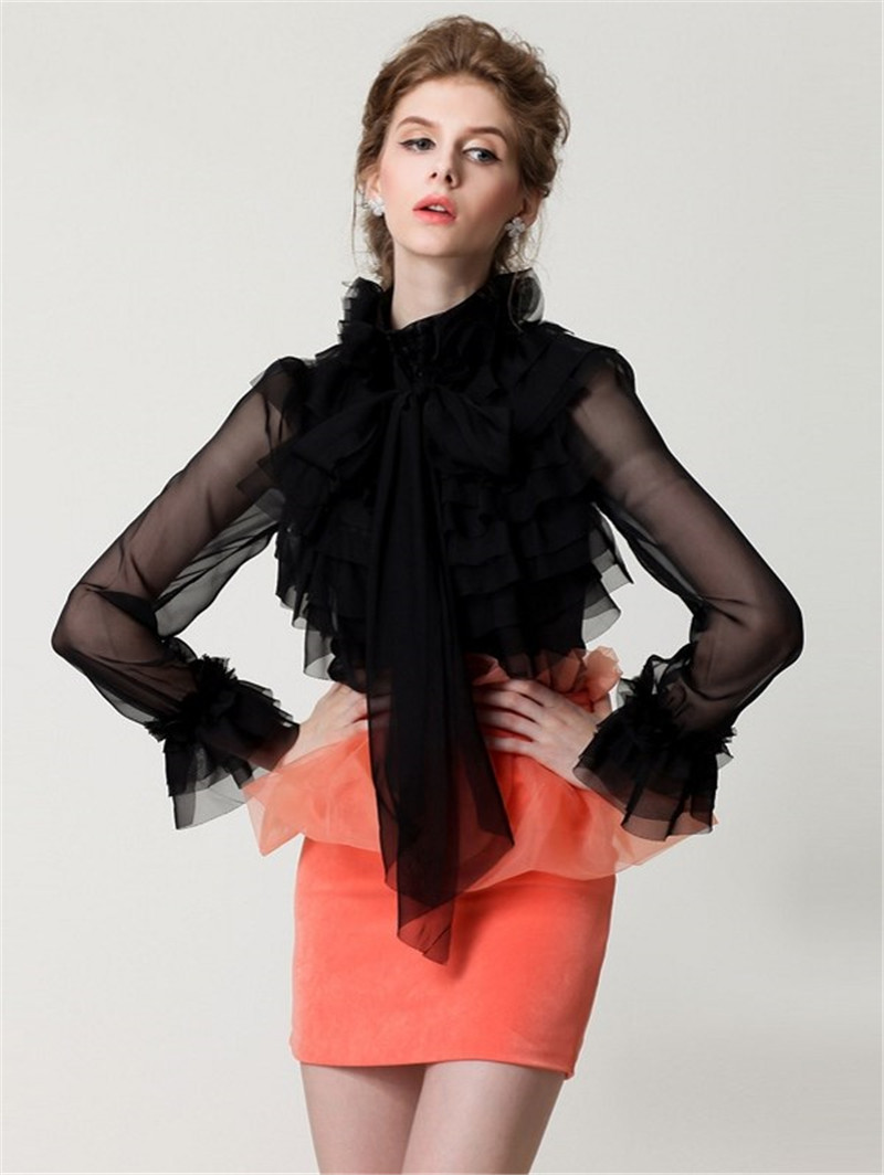 Women Spring Fashion Blouse Sexy Mesh Transparent Tops Black High Neck Bow Tie Front Layered Ruffle Sheer Shirts