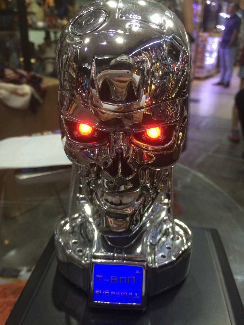 New terminator t800 skull endoskeleton lift-size bust figure replica led eye...