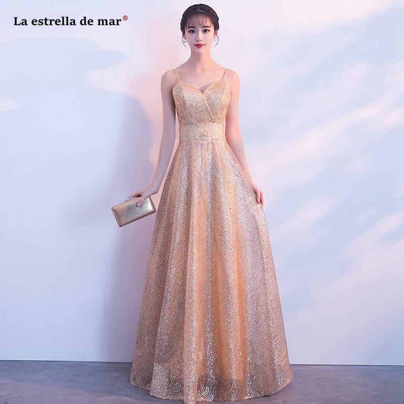 Vestido Boda Mujer New Sexy V Neck Spaghetti Straps A Line Champagne Gold Bridesmaid Dress Long Vestido Boda Mujer Invitada