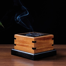 Ebony Wood Incense Burner Purple Sandalwood Openwork Censer Wood Burner Furnace Incense Burner Gifts And Crafts Home Decorations mahogany quality crafts line pomades at home line incense burner wood lying incense box incense stove sandalwood furnace