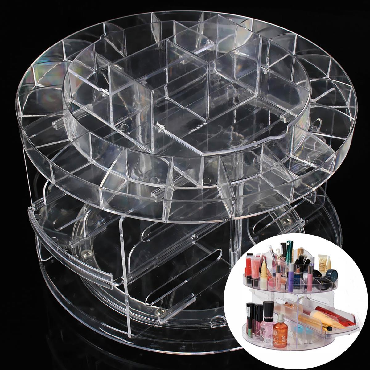 Transparent Cosmetic Storage Box Case For Women Accessories Makeup Organizer 360degrees Rotating Hold Up Assemble Cosmetics Tool