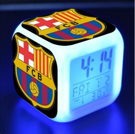 LED Alarm Clock soccer/Football FCB team 7 color Flash Digital clockreloj despertador XMAS Toys Watch