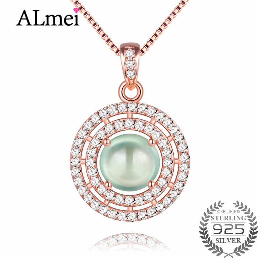 Almei Green Jade Double Circles Pendant Necklaces Silver 925 Rose Gold Color Statement Jewelry for Women with Free Box 40% FN004Almei Green Jade Double Circles Pendant Necklaces Silver 925 Rose Gold Color Statement Jewelry for Women with Free Box 40% FN004