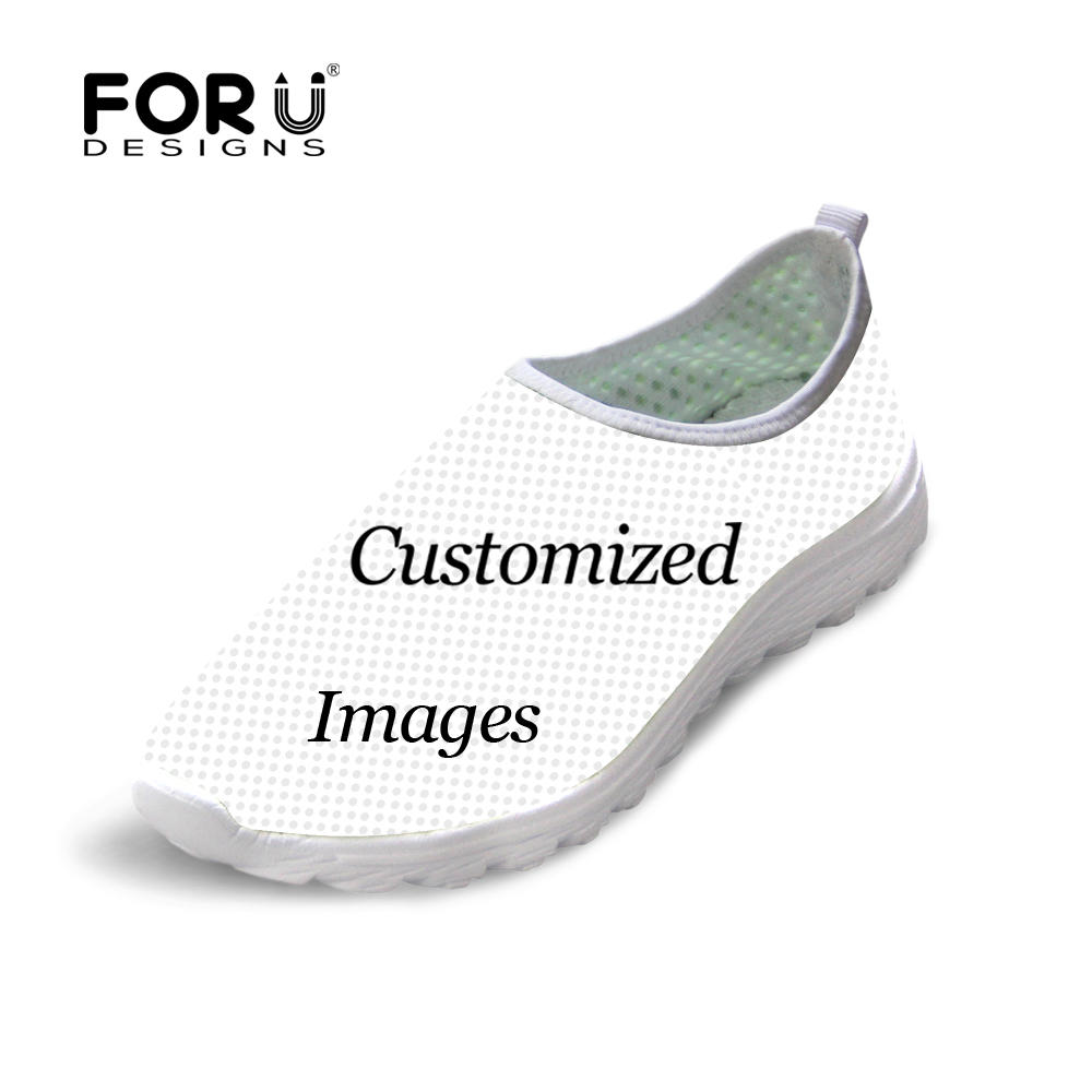 FORUDESIGNS Custom Images or Logo Women Summer Air Mesh Shoes Breathable Light Weight Flats Comfort Slip-on Flat Shoes instantarts women flats emoji face smile pattern summer air mesh beach flat shoes for youth girls mujer casual light sneakers