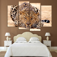 4 Panels Home Decor Picture Wall Art Animal Leopard Landscape Canvas Painting Modern Wall Picture Modular