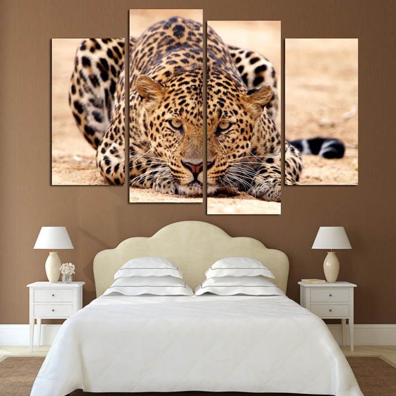 4 Panels Home Decor Picture Wall Art Animal leopard Landscape Canvas Painting Modern Wall Picture Modular picture(Unframed)