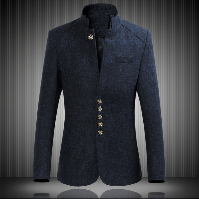 中国チュニックスーツブレザー春メンズカジュアル長袖スーツジャケット、高品質シングルブレスト襟の紳士服