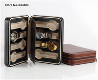 High Grade 8 Slot China Zippered Brown Black Pu Leather Solid Travel Jewelry Case Bag Watch