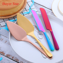1Pc Gold/Rose Gold Stainless Steel Cake Shovel Knife Pie Pizza Cheese Server Divider knives Baking Tools New 30cm