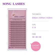 SONG LASHES  0.07 0.10mm thickness premade fan volume fans Lashes 3D 4D short stem Volume Eyelash Extension