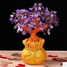Holiday gifts natural amethyst quartz crystal gem money tree in for wealth money bay