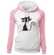 2017 Autumn Winter Sweatshirts Female Fleece Raglan Hoody Streetwear Kawaii Cat Hip Hop Women's Hoodies Brand Clothing Harajuku