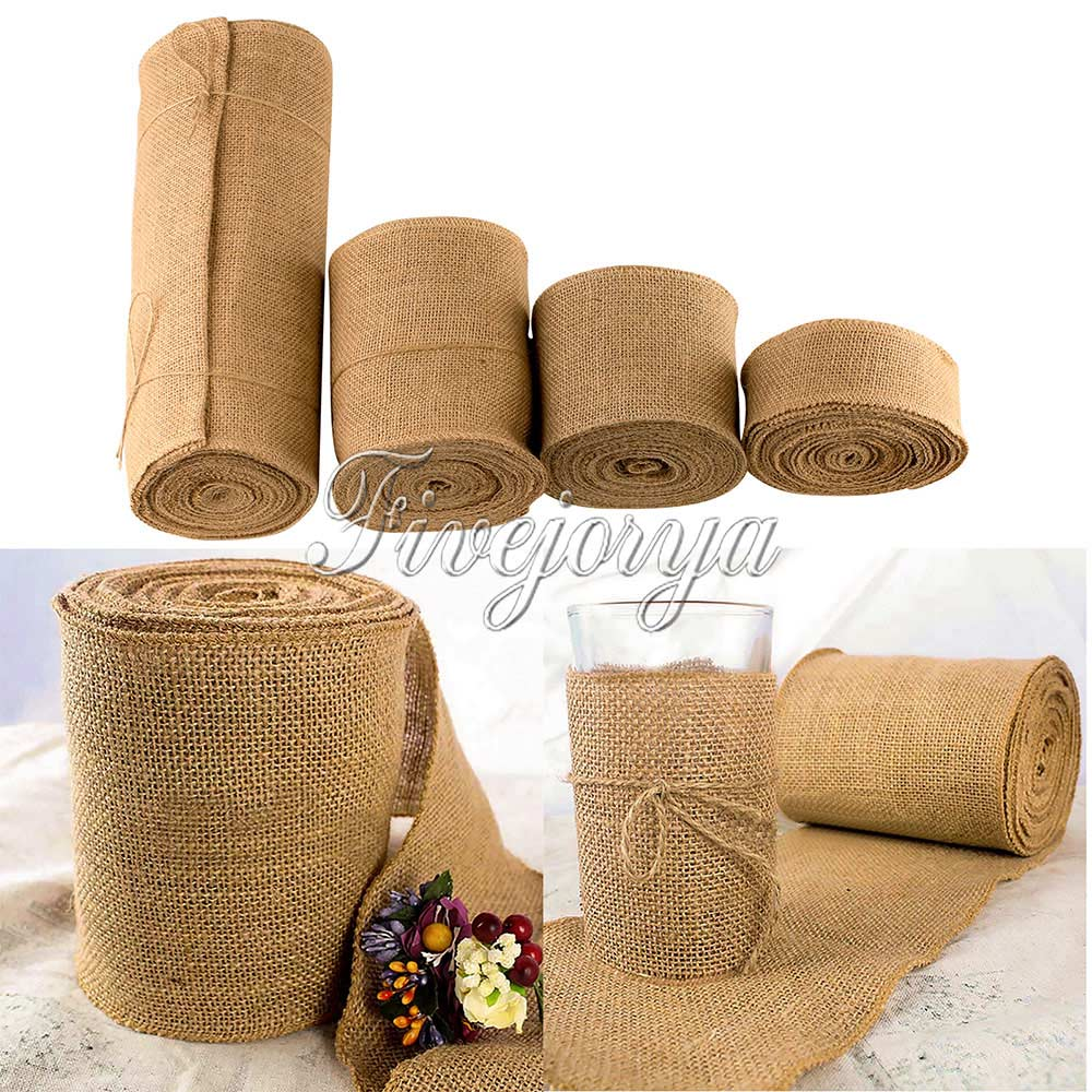 10Meter Long Natural Jute Hessian Burlap Roll Ribbon Burlap Table Runners Wedding Party Chair Bands Vintage Home Decor 4 Size ...